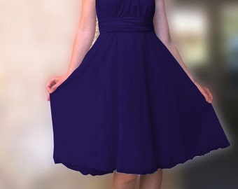 Dark purple Infinity Dress two layers with chiffon   Convertible/Infinity Dress