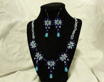 Light Blue Hand Beaded Necklace and Earrings