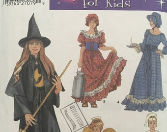 Costumes For Kids Simplicity no. 5372 - Witch, Angel, Pilgrim, Milk Maid and Colonial Gown and Cap.  Sizes 2, 4, 6, 8, 10 & 12