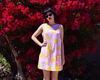 vintage 1960s pink/yellow floral jumpsuit
