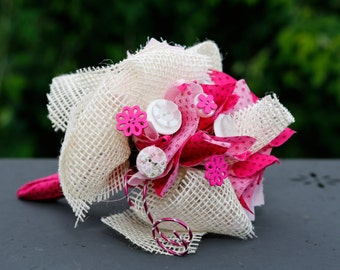 Small bouquet white/fuschia