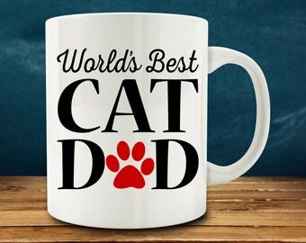 World's Best Cat Dad mug, funny cat mug (M824-rts)