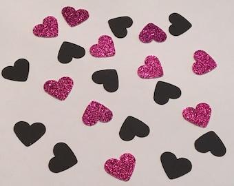 200 Pink and Black Confetti Heart Confetti Glitter Confetti Shower Confetti Baby Confetti Wedding Confetti Birthday Confetti Bachelorette