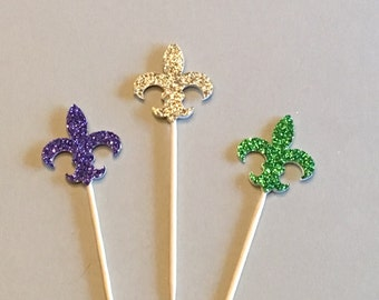 12  Fleur De Lis Cupcake Toppers Mardi Gras Glitter Cupcake Toppers Carnival Cupcake Toppers Birthday Cupcake Toppers Purple Green Gold