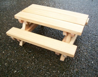 Dollhouse Miniature Cedar Wood Picnic Table with Benches