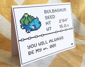 You're #1 Pokemon Card - Bulbasaur - Love / Anniversary / Valentine / Nerd / Birthday - Pikachu Gameboy Video Game Greeting Mother's Day