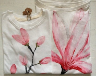 Designer T-shirts for Mother and Daughter Hand Painted on Organic Cotton