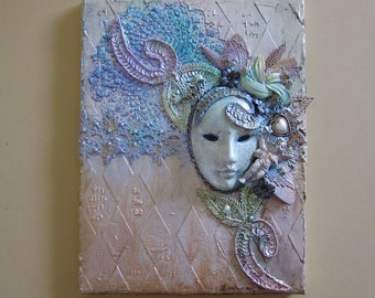 Carnival Mask Assemblage Art Mixed Media Cottage Chic Wall Art Wall Decor Vintage Crochet Vintage Jewelry Pastel Colors Angel Art S3