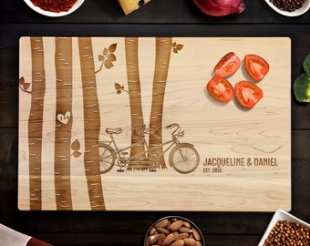 Birch Tree Forest Tandem Bike with Custom Names Cutting Board Wedding, Special Occasion Gift Laser Engraved Maple Cutting Board CB00065