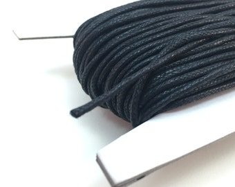 100ft, 50ft, 25ft, 10ft 1.5mm Black Waxed Cotton Cord