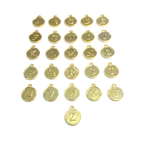 Round circle letter initial charms gold toned from for Circle letter beads