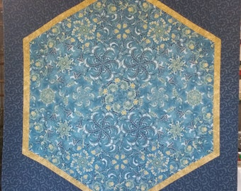 Blue and Gold Patchwork Quilt