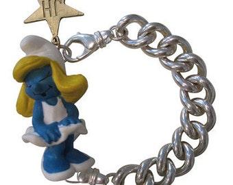 Schlumpfinchen - smurf bracelet solid silver fun playful