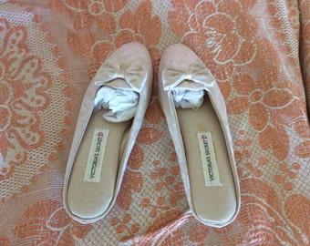 Vintage, slipper/shoes, light whisper pink brocade, size M