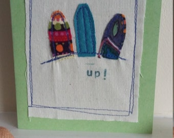 surfs up stitched greeting card
