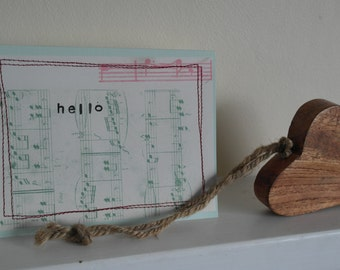 music note stitches greeting card