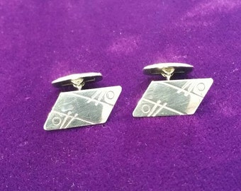 Vintage Solid silver cufflinks by JOSE modernist design