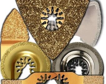 7piece Flooring Tile and Grout Blade Pack Oscillating Multitool Blades Fits Fein Multimaster Ridgid Craftsman DeWalt Chicago Bosch & more