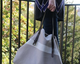 Bag Tote in flax/linen tote/shopping tote/purse hand/tote bag