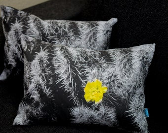 Decorative pillow with photo design in black & white - cactus (removable pillow cover and insert included)