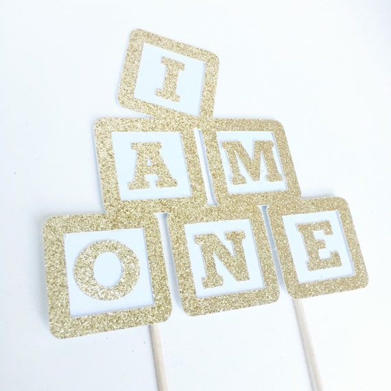 One cake topper i am one first birthday party decoration for Alphabet blocks cake decoration