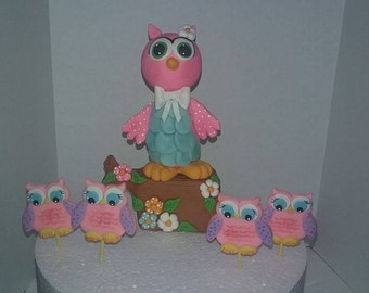 Owl cake toppers /cupcakes decorations
