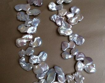 16- inch  Metallic white freshwater Keshi pearl necklace