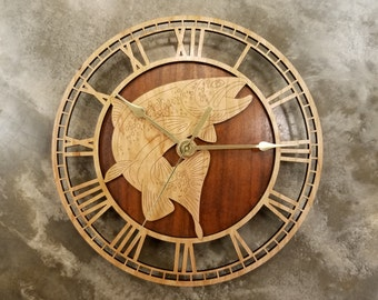 Trout Fishing Wooden Wall Clock, Fly Fishing, Rainbow Trout, Speckled Trout, Brook Trout, Fish, Wood Clock