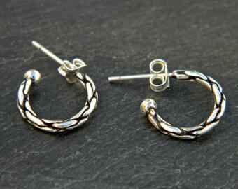 2x14 mm Sterling Silver Hoop Earrings - Silver Hoop Earrings,Tiny Hoop Earrings - Hoop Earrings,Small Hoop Earring,Silver Hoop Tiny,038H(14)