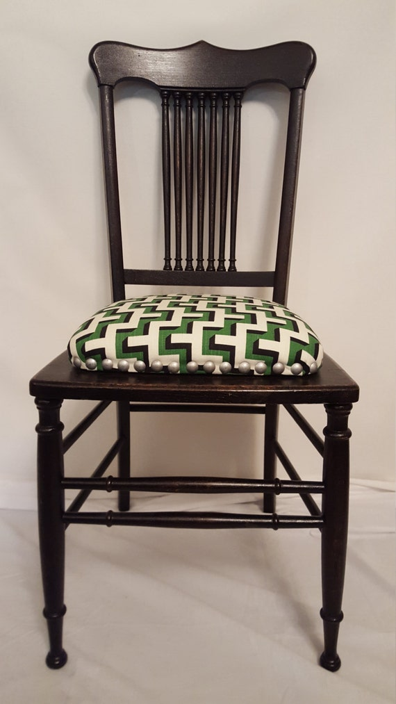 antique accent chair with geometric