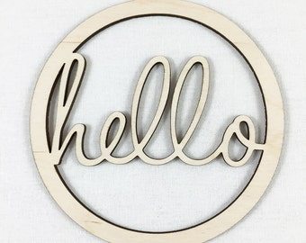 """Hello Word Wood Cut Wall Decor, Unfinished Wood Word """"Hello"""" Laser Cut Sign, DIY Craft Supply, Many Size Options"""