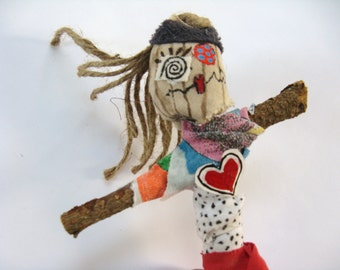 Doll with Headband, Handmade Poppet or Pin Doll, Mixed Media Folk Art, Birthday Gift, Red Paper Heart, Novelty Item