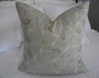 18 x 18 Pillow cover.Brown.Grey.White.Tans.Envelope Style Pillow Cover.Leaf Design.Home Decor.Slip Cover.Pillow Covers.Bedroom Decor