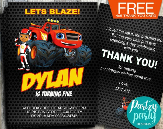 Blaze and the Monster Machines Invitation, Blaze and the Monster Machine Birthday, Party ...