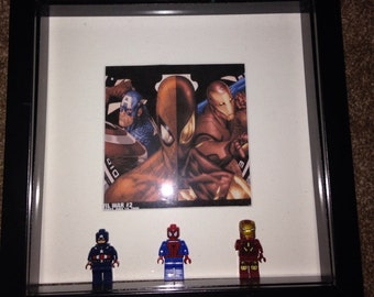 Marvel Avengers Captain America Civil War Captain America Spiderman and Ironman lego characters in Picture Frame Birthday Fathers Day Gift