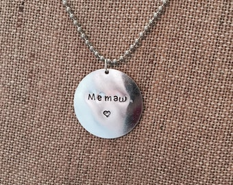 Mothers Day Necklacs   Custom Hand Stamped Nickel