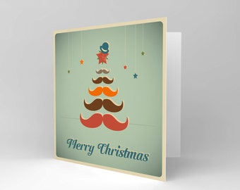 Christmas Card - Moustache Tree Merry Xmas Mens Blank CS1022