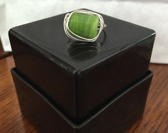 FREE SHIPPING! Green Ring Wire Wrapped - Size 10.5