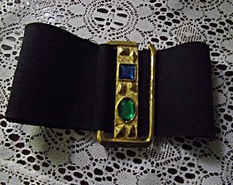 Jeweled Buckle Stretch Belt, Vintage 80's