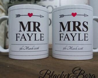 "Set of two Bride and Groom- Wedding mug gift set - Mr & Mrs ""custom"" mugs"