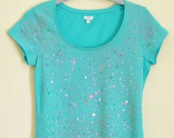 Splatter hand paint T-shirt - T-shirt dipinta a mano con tecnica splatter