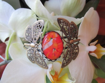 Bracelet cabochon flowers orange