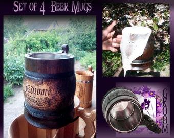 4 Custom Groomsman Beer Mugs/Rustic Wedding Beer Mugs/Engraving Beer Mug/Wooden Beer Mugs/Wood Groomsmen Gift/Rustic Cup/GIft For The Groom