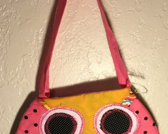 Pink Owl with yellow beak Purse