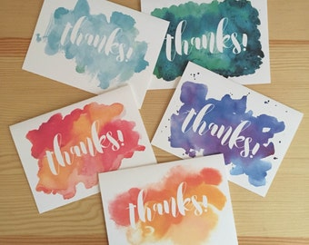 Set of 5 Watercolor Thank You Cards