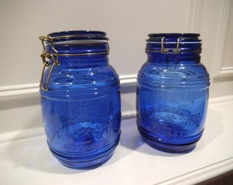 Vintage Cobalt Blue Canister Jar With Lids - Set of 2