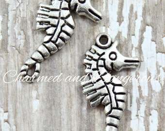10 pewter Seahorse charms (CM25)