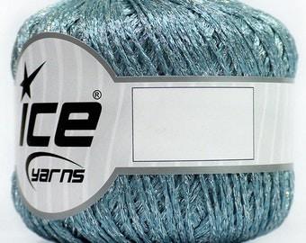 Metallic Silver Blue Yarn Knitting Crochetting by Ice Yarns 50gr 110m Blouse, Bikini, Short, Headband