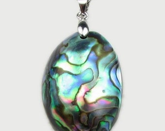 Abalone shell pendant, 925 sterling silver oval shell pendant, colorful paua shell necklace, sea shell jewelry, 20x30mm, ABA2010-P