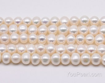 White freshwater pearl strands, 9-10mm potato shape, genuine natural pearls, large bead hole up to 2.5mm, pearl beads wholesale, FP660-WS